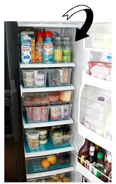 Home Organization Ideas- love the pull out plastic bins for yogurt and drinks that sometimes get lost in the back of the fridge