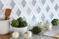 The Talya Collection by Sara Baldwin waterjet mosaic, stone waterjet, mosaics, talya collect, sara baldwin, white polish, marbl, kitchen tiles, snow white