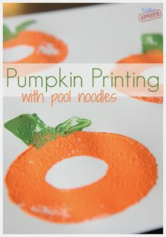 Toddler Approved!: Pumpkin Printing with Pool Noodles
