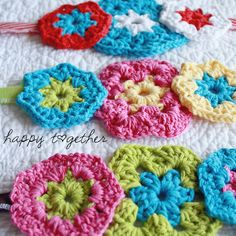 Crochet flower headbands - loving the bright, happy colors!