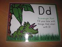 scavenger hunts, homeschool, dinosaurs, school rooms, blog, prek letter, letters, dinosaur theme, kid