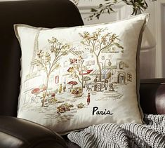 Paris Embroidered Pillow Cover #potterybarn