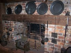 Michie Tavern, Charlottesville, Virginia.  The hearth of the keeping room.