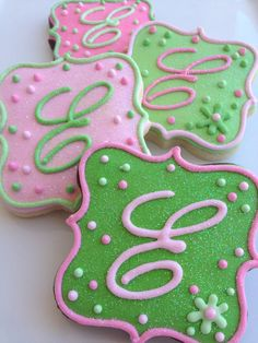 1 Dozen - Sparkling Pink and Green Monogrammed Cookies. $36.00, via Etsy.