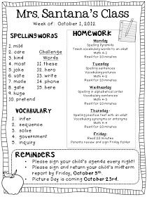 "Weekly homework notes...hmm...word sort guide, reading 20 minutes each night from ""just right book"", vocabulary review...possibly"