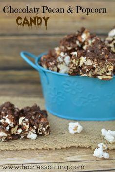 Chocolaty Pecan & Popcorn Candy   http://www.fearlessdining.com   #candy #chocolate #glutenfree