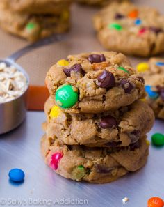 Soft-Baked Monster Cookies (aka  peanut butter oatmeal chocolate chip M+M cookies).