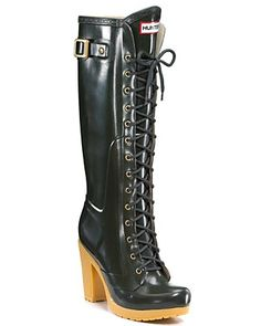 "Hunter Boot ""Lapins"" Lace-Up Knee-High Rain Boots $225.00"
