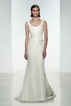 "Amsale ""Cate"" gown. Faile De Soie scoop neck fit to flare gown. #bridal #gown #wedding"