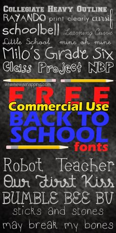 While He Was Napping: 14 Fantastic Back to School Fonts  ~~ {14 Free fonts w/ easy download links}