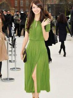 Green Chiffon Pleated Dress ~ Shipping Incl