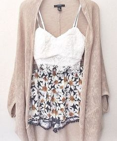 summer grunge outfits, cardigan and shorts outfit, cardigan summer outfit, outfits for summer, floral shorts outfit, summer outfits, summer festival outfit, shorts and cardigan outfit, lace cardigan outfit