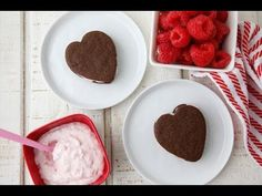 Step by Step: Raspberry Cream Chocolate Cookies Hearts for Valentine's Day VIDEO (fun to watch with kids!)