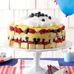 Red, White  Blue Berry Trifle Recipe from Taste of Home