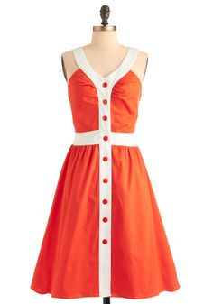 Orange You Glad Dress - Long, Vintage Inspired, 50s, 60s, 70s, Orange, White, Buttons, A-line, Tank top (2 thick straps)