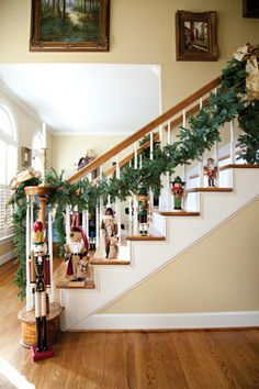 collection of nutcrackers climb the staircase