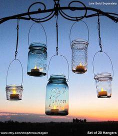 Hanging Lanterns 20 DIY Mason Jar Hangers Outdoor by treasureagain, $60.00