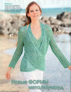shown as knit garment but can easily be translated to a lacy crochet motif...  pattern is available in russian...