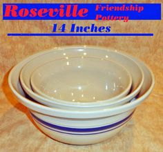 Friendship Pottery Roseville Ohio Bowl Set w/ Rare 8 Qt Bowl.