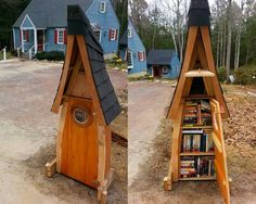 Ben Hart. Newcastle, ME. Made from 100% recycled and found material for a cost of $0.00. Filled with our favorite books. We're both merchant mariners, so we love nautical lore! Stop by and borrow, take, or share a book.