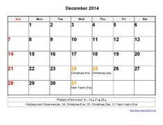 Printable Calendar 2014 December Templates