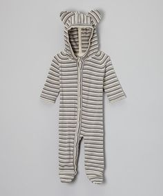 Another great find on #zulily! Plum Bunny Stripe Organic Bear Footie - Infant by Plum Bunny #zulilyfinds