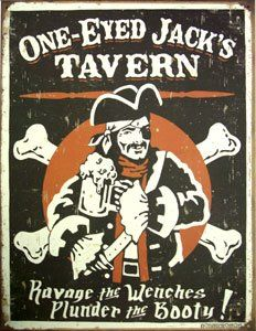 One Eyed Jack's Tavern Distressed Retro Vintage Tin Sign