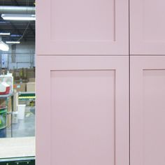 Shaker doors in a soft lavender/pink hue from Colors by Canyon Creek #colorsbyCC