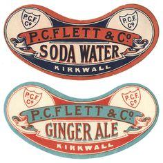PC Flett & Co Drink labels    #labels #retro #artwork #design #logo #vintage #soda