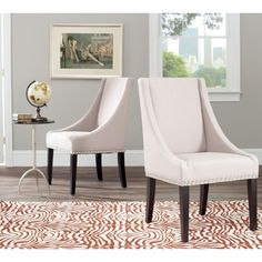 Sloping Arm Beige Linen Nailhead Dining Chair (Set of 2) $332