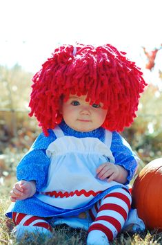 Baby Hat Raggedy Ann wig for baby girl Halloween costume by Amarm.