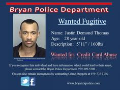 Warrant Wednesday - Justin Thomas wanted for Credit Abuse Nov 2015