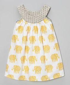Another great find on #zulily! Yellow & Gray Elephant Yoke Dress - Toddler & Girls #zulilyfinds