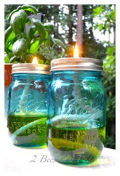DIY Mason jar citronella candle oil lamp. All you need is a mason jar, citronella oil and cotton rope.
