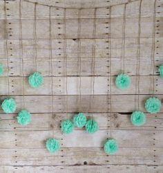 Seafoam Green Tissue Paper Flower Wedding Garland, Photography Prop, Mint Party Decoration. $35.00, via Etsy.