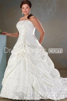 A-Line/princess Strapless Cathedral  Satin  Bridal Gowns