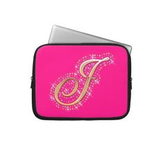 Pink Laptop Sleeve with Initial J