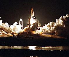 Space Shuttle Endeavour blazes into the night sky on mission STS-113, the 19th for Endeavour, and the 112th flight in the Shuttle program. Image credit: NASA
