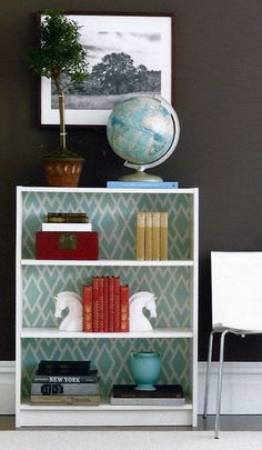 The back of the shelves are fabric on foam core cut to size so you can easily swap them out!