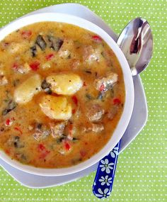 """Gnocchi & Sausage Soup. A recipe for soup is merely ingredient suggestions. My """"recipe"""": 2 roasted red peppers, more spinach, mushrooms & rind of parm cheese. Next time: homemade gnocchi. ~M"""