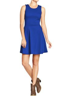 Old Navy ponte-knit fit and flare dress, blue