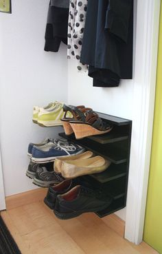 not martha — DIY: shoe rack for a tight space  ::  so smart.  I desperately need to get all of the shoes off of our floor by the back door