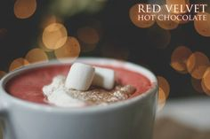 Red Velvet Hot Chocolate with Cream Cheese Whipped Topping