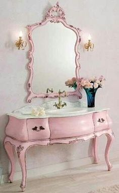 Shabby Pink Vanity. OMG I want this for my closet.
