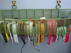 Ribbon Storage - Use a window flower box to get easy access to organized ribbons. #tips