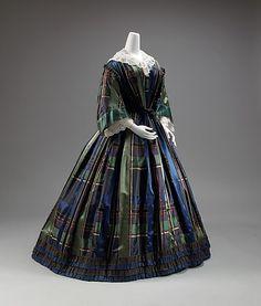 #Dress 1858, American made of silk  #Fashion #New #Nice #PlaidDress #2dayslook  www.2dayslook.com