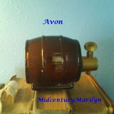 Avon Keg Decanter Brown Glass Wooden Barrel  Bottle Vintage ...
