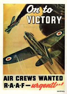 On to Victory Second World War Australian Airforce Recruitment Poster