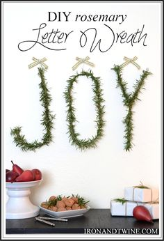 diy rosemary letter wreath | the handmade home...#Christmas #joy
