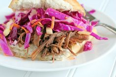 Shredded Beef Sandwiches with Red Cabbage and Apple Slaw | $5 Dinners